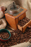 retro coffee grinder with cup poster