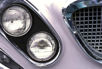 classic 1962 beige sedan; front end chrome detail