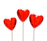 three heart shaped lollipops for valentine poster