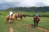 dad with daughters on horses - hawaiian greeting poster