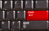 computer keyboard with word cash on red button poster