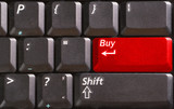 computer keyboard with word sell on red button poster