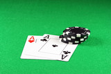 poker - a pair of aces with poker chips poster