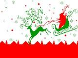 rheindeer pulling santa on his sleigh. christmas poster