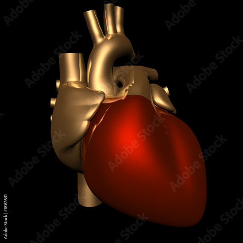 metallic heart in gold and red