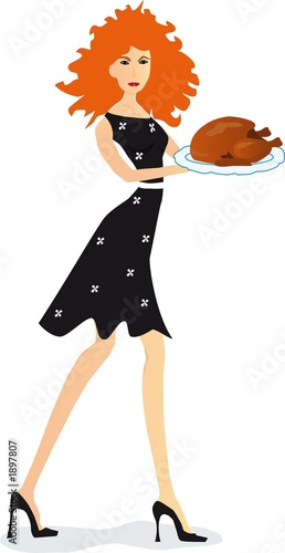 girl with turkey