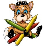 fox cub 03 with markers poster