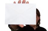 man holdig envelope poster