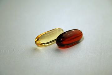 two transparent pills