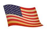 retro wavy american flag poster