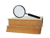 two old books and magnifying glass poster