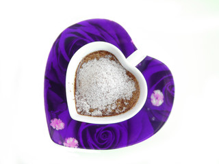 violet cup of coffee with heart