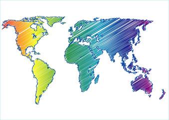 world map raimbow scribble