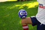 soccer ball on knee poster