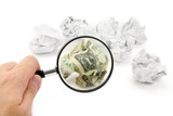 crumpled usa dollar ball and magnifier poster
