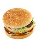 appetizing hamburger on white poster