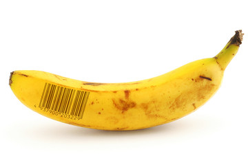 ripe banana with bar code