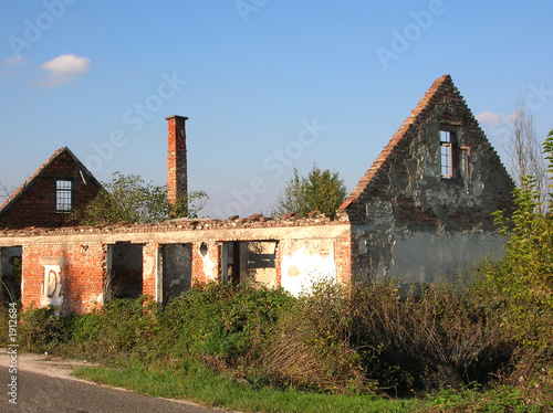 abandoned house in bosnia with chimney