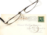 antique postcard and eyeglasses poster