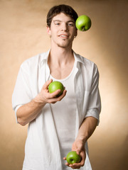 juggling with apples