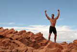 muscular rock climber poster