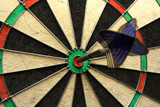success shot! darts photo with arrow in bullseye poster