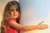 young girl on column poster
