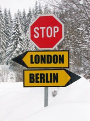 london or berlin? roadsign in nature