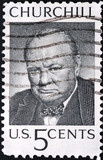 churchill postage stamp poster