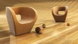 armchair 3d rendering poster