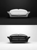 black and white sofa monochrome object 3d poster
