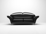 black sofa on white background  insulated 3d poster