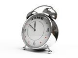 metallic alarm clock isolated on white background 3d poster