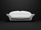 white sofa on black background  insulated 3d poster