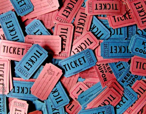 Leinwanddruck Bild pink and blue tickets