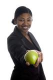 pretty black woman offering apple poster