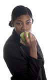 pretty black woman eating apple poster