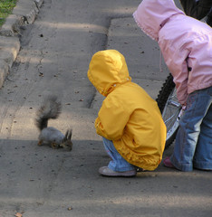 children and squirrel