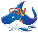 shark diver poster