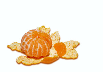 tangerine and rind  isolated