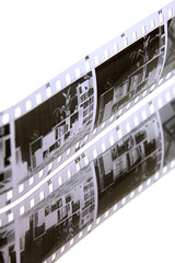 a strip of film and reflection