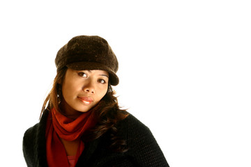 asian lady in brown hat.