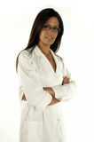 smiling nurse with eyeglasses poster