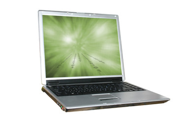 isolated laptop with abstract background on the sc