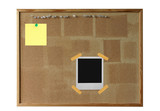 cork board with polaroid poster