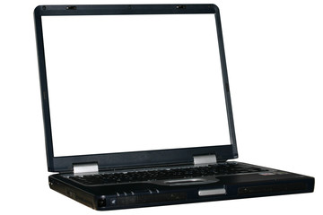isolated laptop with white screen - can be used as