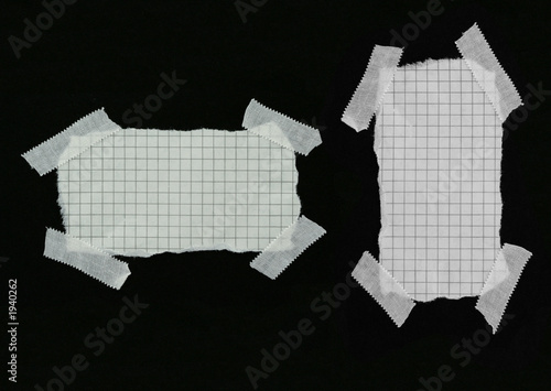 poster of squared strip of paper with white plaster pieces
