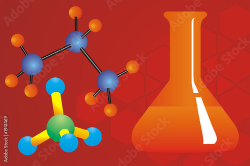 poster of molecules and chemical flask