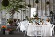 Leinwandbild Motiv dining table set for a wedding or corporate event