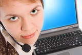 beautiful customer support girl with laptop in headphones poster